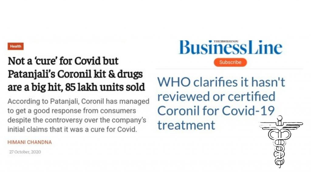 Coronil NOT a cure for COVID
