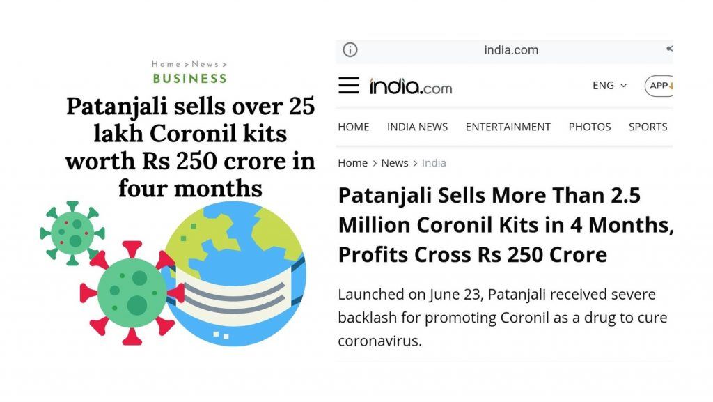 Coronil Kits sold out